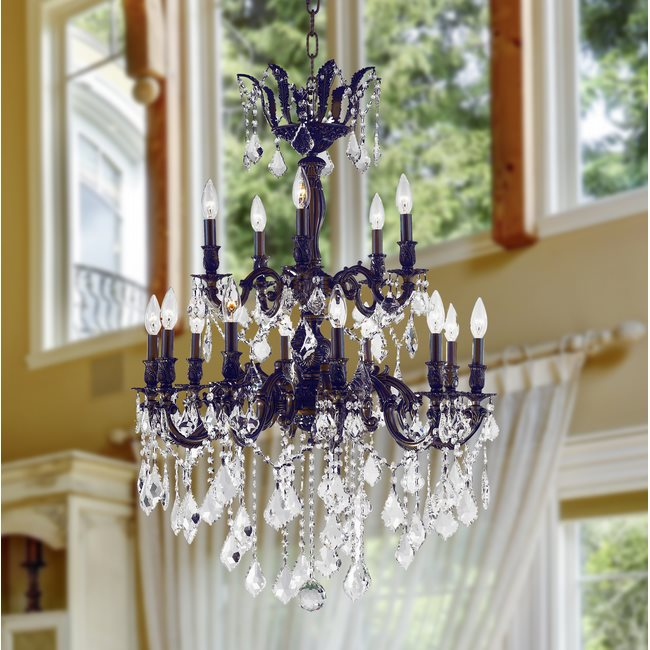 W83349F27 Versailles 15 Light Flemish Brass Finish and Clear Crystal Chandelier Two 2 Tier
