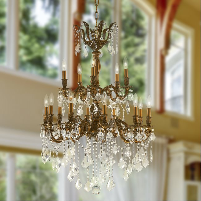W83349FG27-GT Versailles 15 Light French Gold Finish and Golden Teak Crystal Chandelier - DISCONTINUED