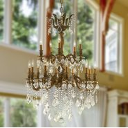 W83349FG27-GT Versailles 15 Light French Gold Finish and Golden Teak Crystal Chandelier