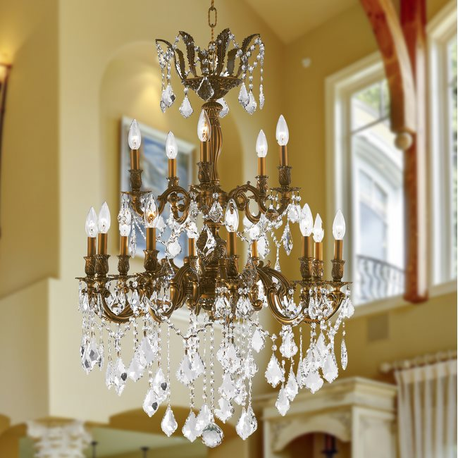 W83349FG27 Versailles 15 Light French Gold Finish and Clear Crystal Chandelier - DISCONTINUED