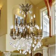 W83349FG27 Versailles 15 Light French Gold Finish and Clear Crystal Chandelier