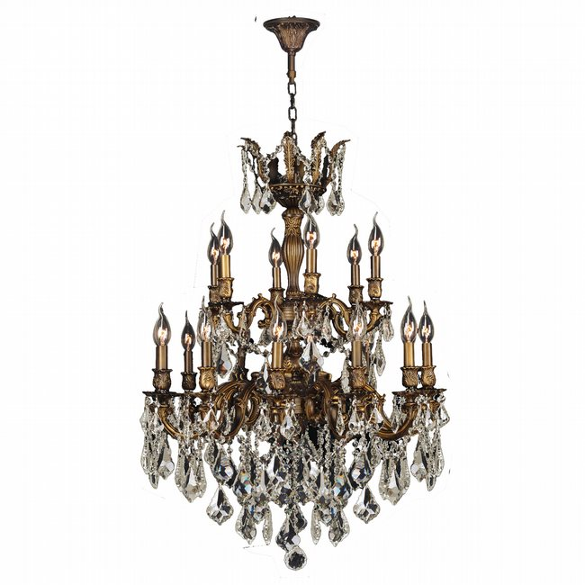 W83350B27-GT Versailles 18 light Antique Bronze Finish and Golden Teak Crystal  Chandelier Two 2 Tier - W83350B27-GT Versailles 18 Light Antique Bronze Finish And Golden
