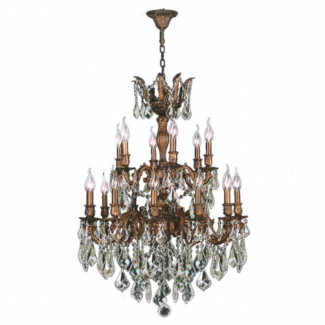 W83350FG27-GT Versailles 18 light French Gold Finish with Golden Teak Crystal Chandelier