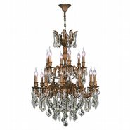 W83350FG27 Versailles 18 light French Gold Finish and Clear Crystal Chandelier Two 2 Tier