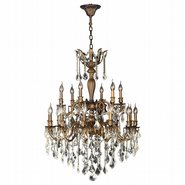 W83351B30-GT Versailles 18 light Antique Bronze Finish and Golden Teak Crystal Chandelier Two 2 Tier