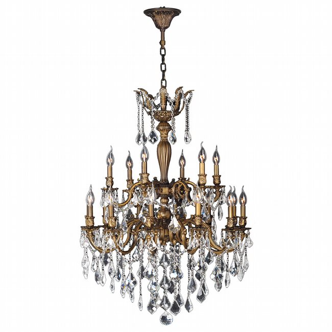 W83351B30 Versailles 18 light Antique Bronze Finish with Clear Crystal Chandelier