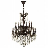 W83351F30-GT Versailles 18 light Flemish Brass Finish with Golden Teak Crystal Chandelier