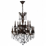 W83351F30 Versailles 18 Light Flemish Brass Finish and Clear Crystal Chandelier Two 2 Tier