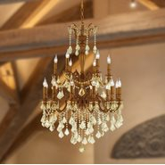 W83351FG30-GT Versailles 18 light French Gold Finish with Golden Teak Crystal Chandelier