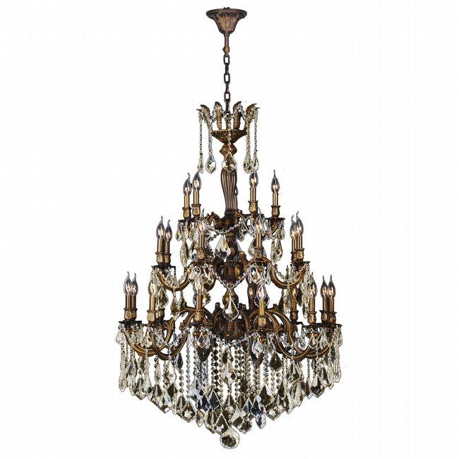 W83352B36-GT Versailles 25 light Antique Bronze Finish with Golden Teak Crystal Chandelier Three 3 Tier