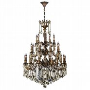 W83352B36-GT Versailles 25 light Antique Bronze Finish with Golden Teak Crystal Chandelier Three 3 Tier
