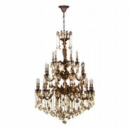 Versailles 25 light French Gold Finish and Golden Teak Crystal Chandelier Three 3 Tier