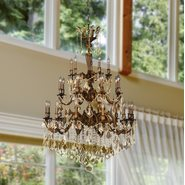 W83352FG36-GT Versailles 25 light French Gold Finish and Golden Teak Crystal Chandelier Three 3 Tier