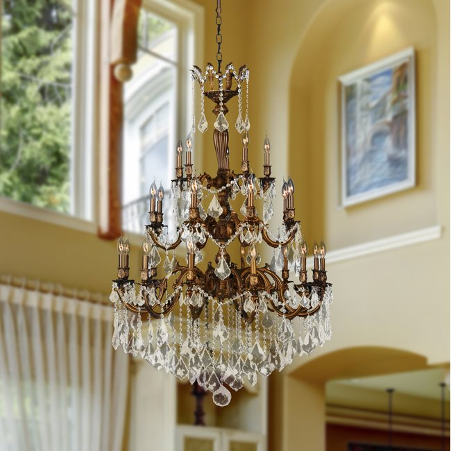 W83352FG36 Versailles 25 light French Gold Finish and Clear Crystal Chandelier Three 3 Tier