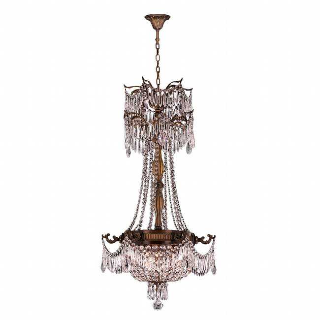 W83355B20-CL Winchester 3 Light Antique Bronze Finish with Clear Crystal Chandelier