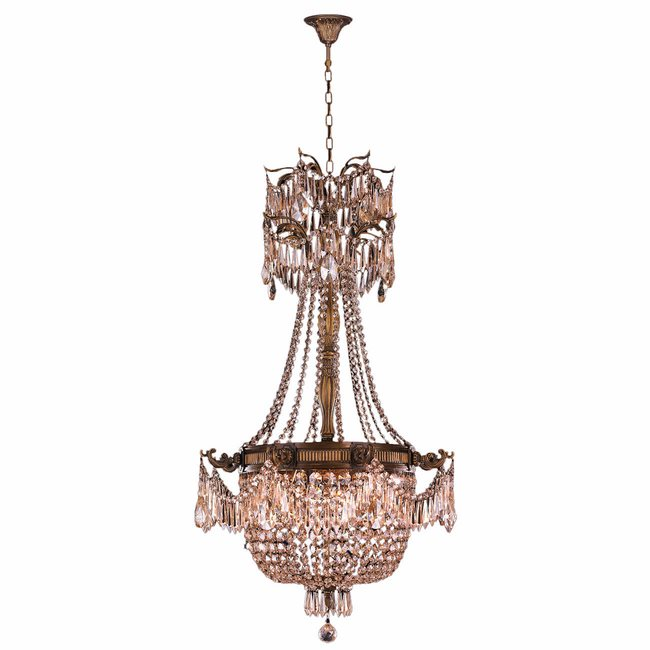 W83355B24-GT Winchester 4 Light Antique Bronze Finish and Golden Teak Crystal Chandelier