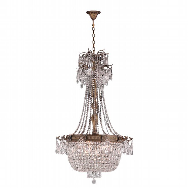 W83355B30-CL Winchester 10 Light Antique Bronze Finish and Clear Crystal Chandelier 30 x 50 Large