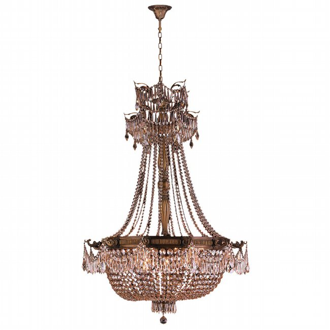 W83355B36-GT Winchester 12 Light Antique Bronze Finish and Golden Teak Crystal Chandelier