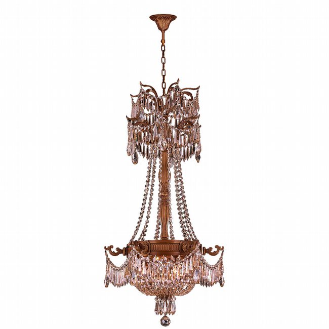 W83355FG20-CL Winchester 3 Light French Gold Finish with Clear Crystal Chandelier