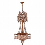 W83355FG20-GT Winchester 3 Light French Gold Finish with Golden Teak Crystal Chandelier