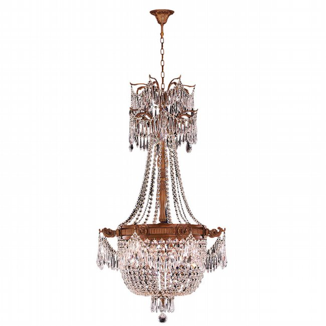 W83355FG24-CL Winchester 4 Light French Gold Finish and Clear Crystal Chandelier