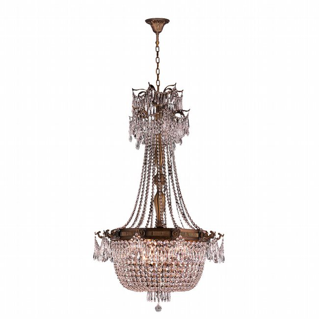 W83355FG30-CL Winchester 10 Light French Gold Finish and Clear Crystal Chandelier