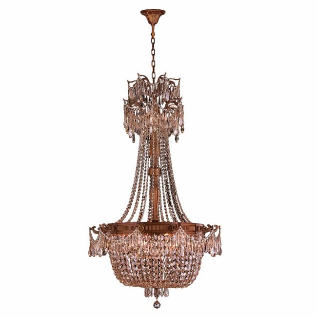 W83355FG30-GT Winchester 10 Light French Gold Finish and Golden Teak Crystal Chandelier