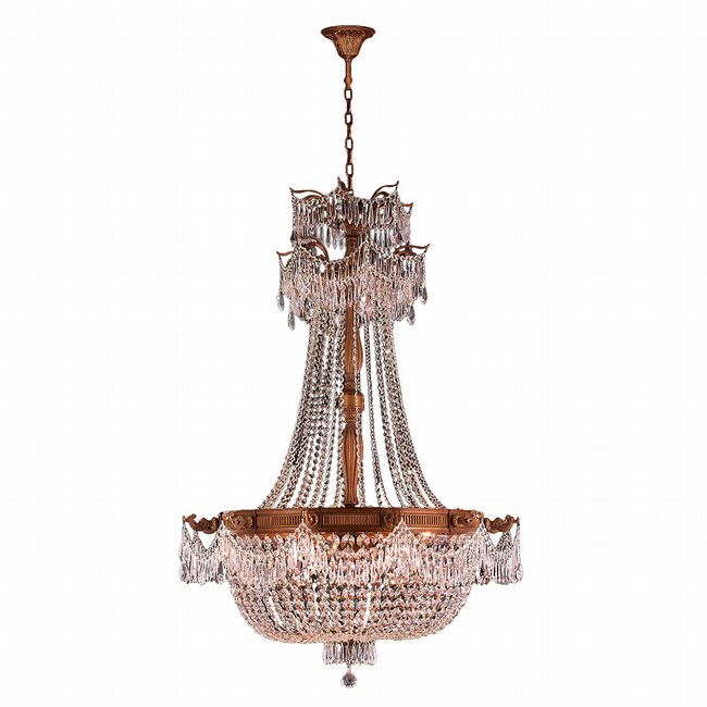 W83355FG36-CL Winchester 12 Light French Gold Finish and Clear Crystal Chandelier