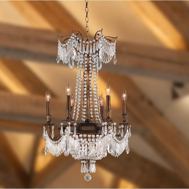 W83356B20-CL Winchester 9 Light Antique Bronze Finish and Clear Crystal Chandelier