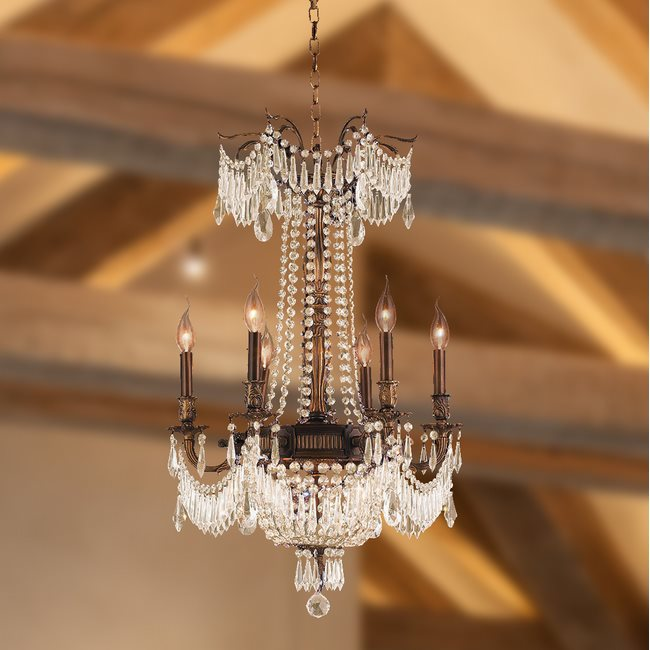 W83356B20-GT Winchester 9 Light Antique Bronze Finish with Golden Teak Crystal Chandelier
