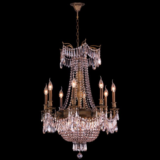 W83356B24-CL Winchester 12 Light Antique Bronze Finish and Clear Crystal Chandelier