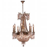 W83356B24-GT Winchester 12 Light Antique Bronze Finish and Golden Teak Crystal Chandelier