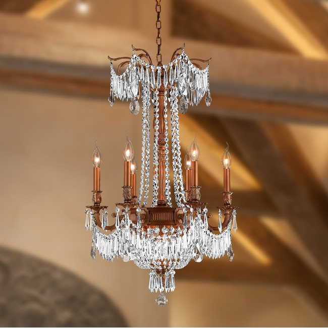 W83356FG20-CL Winchester 9 Light French Gold Finish and Clear Crystal Chandelier
