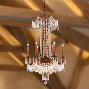 W83356FG20-GT Winchester 9 Light French Gold Finish and Golden Teak Crystal Chandelier