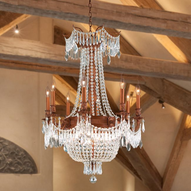 W83356FG24-CL Winchester 12 Light French Gold Finish and Clear Crystal Chandelier