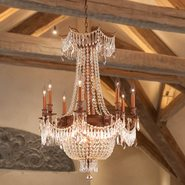 W83356FG24-GT Winchester 12 Light French Gold Finish and Golden Teak Crystal Chandelier