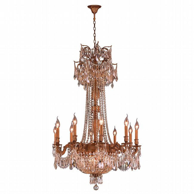 W83356FG30-GT Winchester 15 Light French Gold Finish and Golden Teak Crystal Chandelier