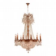 Winchester 18 Light French Gold Finish and Golden Teak Crystal Chandelier
