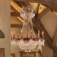 W83356FG36-GT Winchester 18 Light French Gold Finish and Golden Teak Crystal Chandelier