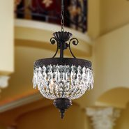 Winchester 3 Light Flemish Brass Finish Clear Crystal Chandelier