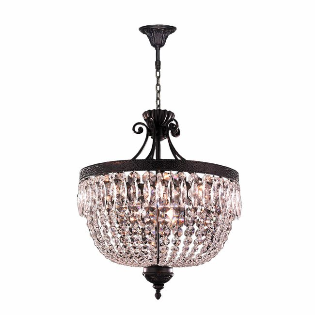 W83357F20 Enfield 9 Light Flemish Brass Finish and Clear Crystal Chandelier