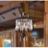 W83358F12 Enfield 3 Light Flemish Brass Finish Clear Crystal Chandelier