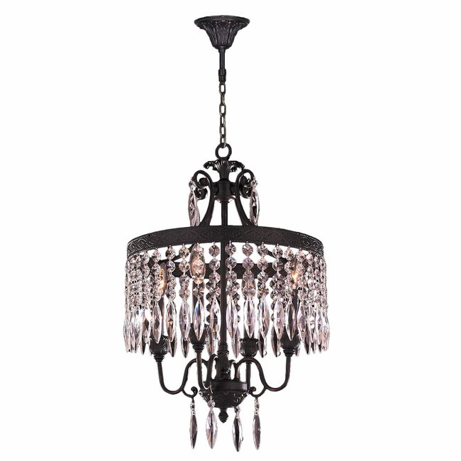 W83358F16-CL Enfield 4 Light Flemish Brass Finish and Clear Crystal Chandelier
