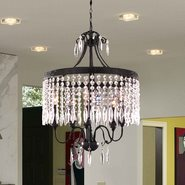 W83358F20-CL Enfield 5 Light Flemish Brass Finish Clear Crystal Chandelier
