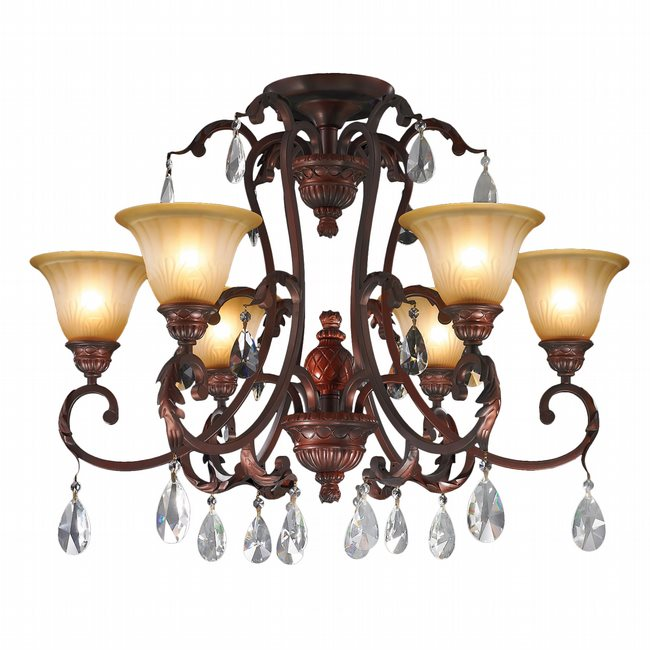 florence 6 light antique bronze finish clear crystal