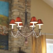 Venice 6 Light Flemish Brass Finish with Clear Crystal and Cognac Linen Shades Chandelier