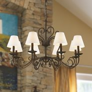 Saratoga 8 Light Flemish Brass Finish with Natural Shades Chandelier