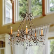 Madrid 5 Light Flemish Brass Finish and Clear Crystal Chandelier