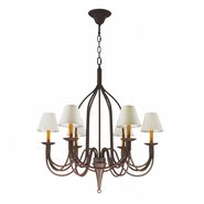 Saratoga 6 Lights Flemish Brass Finish and Natural Shades Chandelier