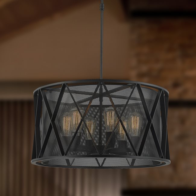 w83421mb24 Nautilus 6 Light Matte Black Finish Pendant
